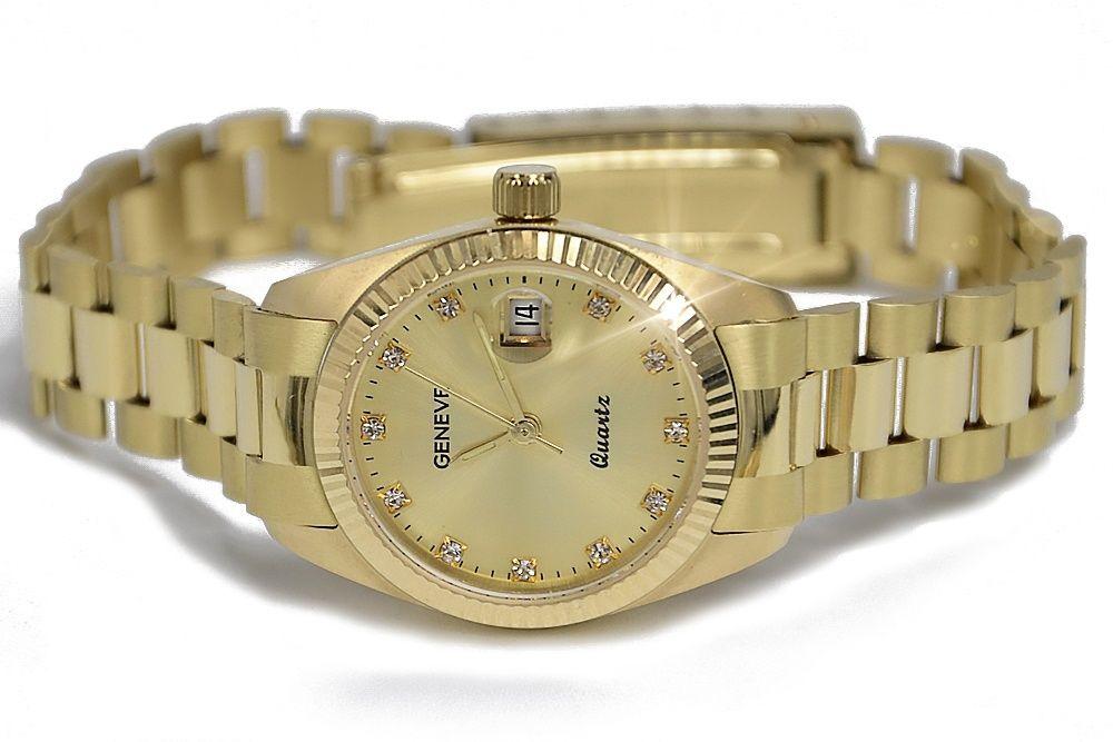 Złoty zegarek damski Rolex style 14k włoski Geneve lw021y W