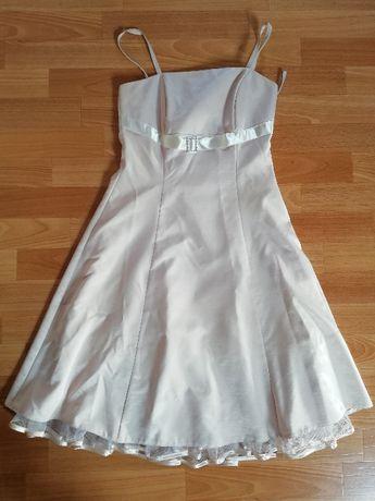 Sukienka satyna - ecru