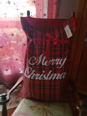saco de natal com merry christmas
