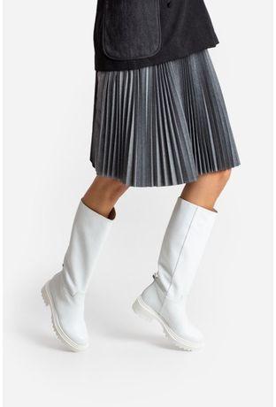 Кожаные белые ботинки на тракторной подошве kachorovska everly кожа