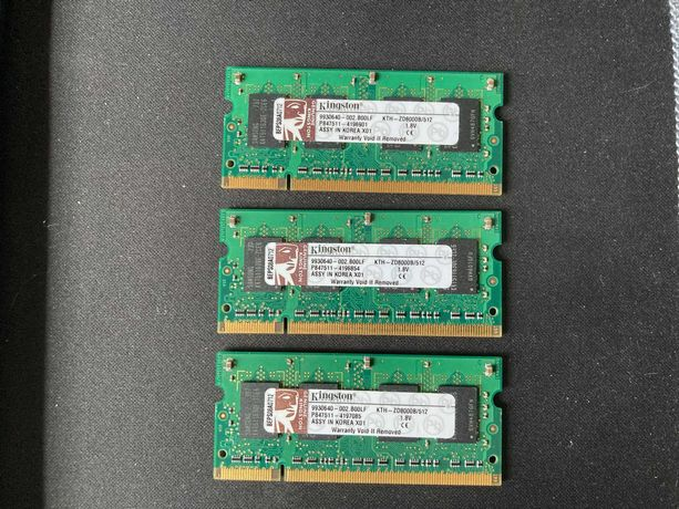 Kingston 512MB DDR2 do laptopa - 3 sztuki - cena za wszystkie