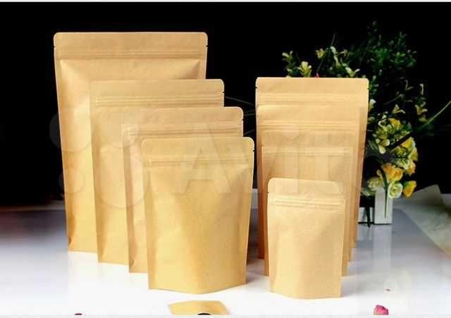 Бумажные пакеты ДОЙ-ПАК из крафт-бумаги с замком zip-lock