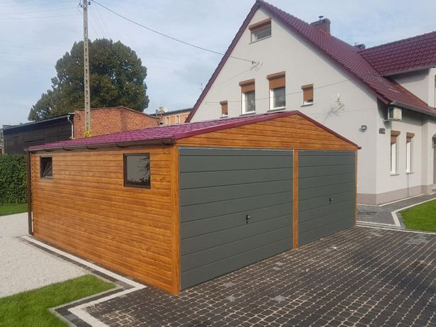 Garaz blaszany drewnopodobny 6x6 złoty dąb blachodachowka Piękny