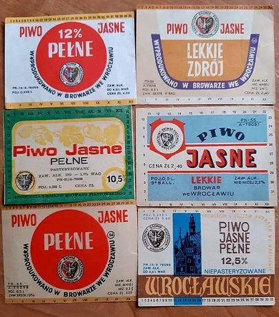 6 etykiet z lat 50, 60, 70 tych z Browaru Piastowskiego