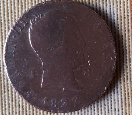 Moeda Ferdin VII D.G. Hisp. Rex e 1827 em cobre