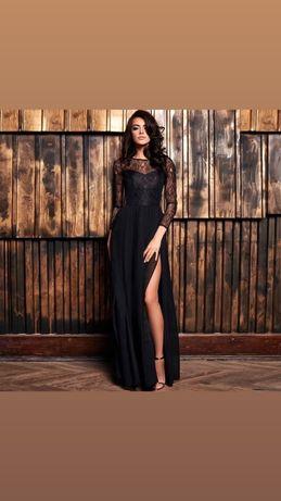 Sukienka czarna dluga koronkowa