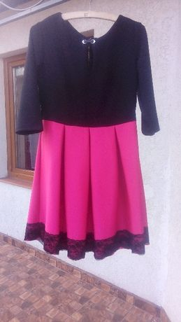Sukienka Fuksja-Czarny roz.L