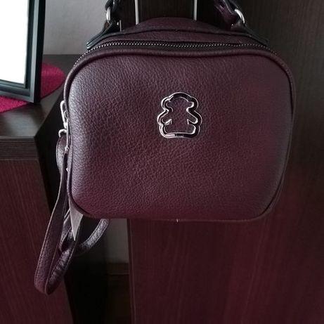 Bordowa torebka z misiem
