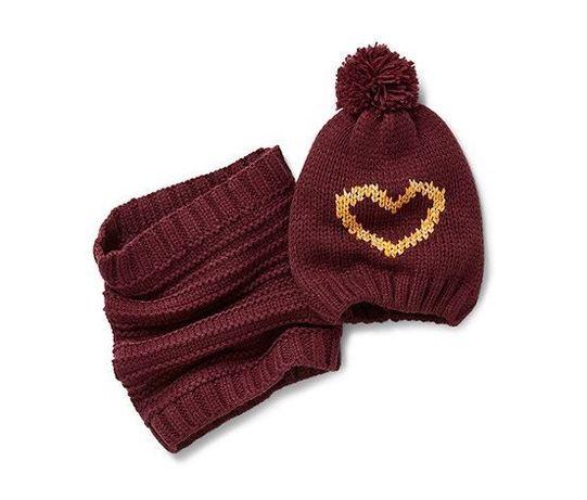 Теплый комплект Сердечко: шарф-снуд и шапка, Tchibo Германия
