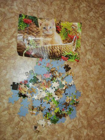 Пазлы мозаика котик рыжий рябина в пакете большие 164 шт