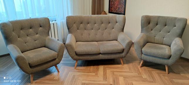 Fotele uszak x2 + sofa  Gala Collezione. Komplet wypoczynkowy PREMIUM