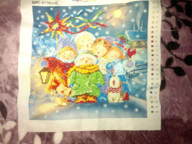 """Картина бісером """"Різдвяна пісенька"""""""