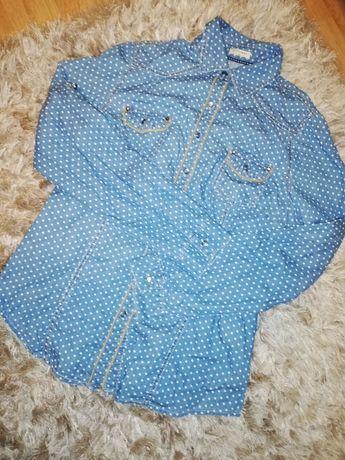 Koszula jeans jeansowa kropki groszki 42 44 XL XXL Fittiway