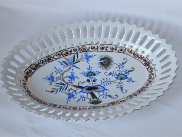 Półmisek porcelanowy koszyk ażurowy wzór cebulowy