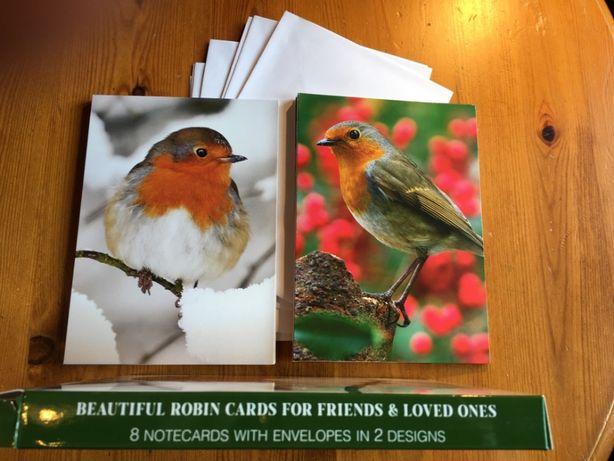 Kartki pocztowe 8szt. duże rozkładane z kopertami 2 wzory Ptaki Rudzik