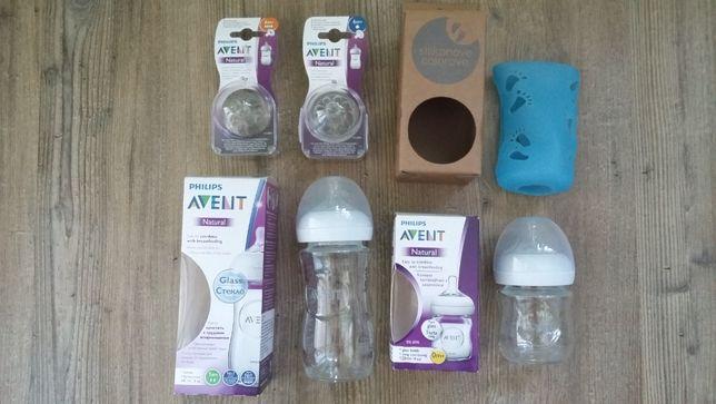 Butelki Avent natural szklane plus smoczki i osłonka silikonowa