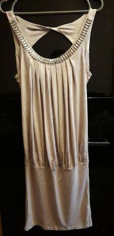 Золотое платье из тяжёлого шелка 44-46
