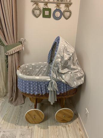 Продам люлька кроватка плетена із лози ручної роботи на колесах для но