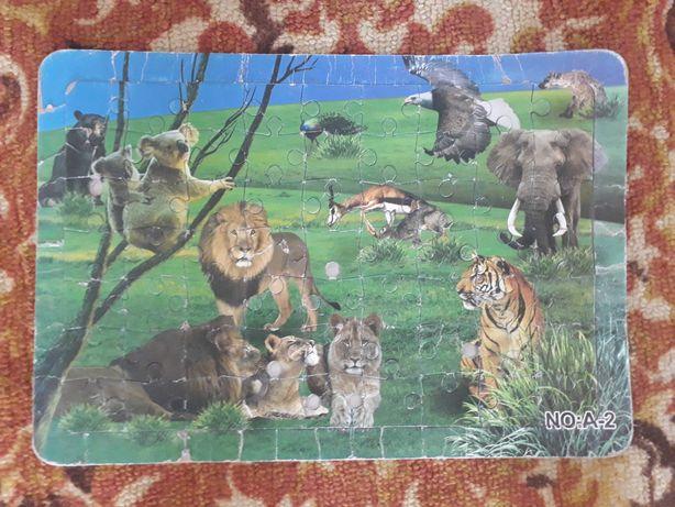 Пазлы на картоне  дикие животные крупные детали