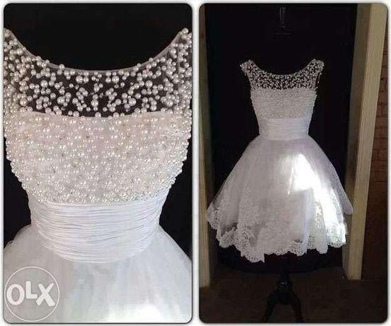 KRÓTKA suknia sukienka ślubna wesele 34 36 S, 38 M, 40 L, 42 XL 44, 46