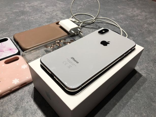 Iphone X, silver, 64 gb, icloud, Apple, IOS, orginalne pudełko