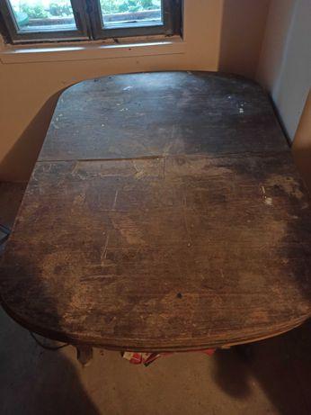 Stół - antyk dębowy rozkładany do renowacji. Okres międzywojenny.