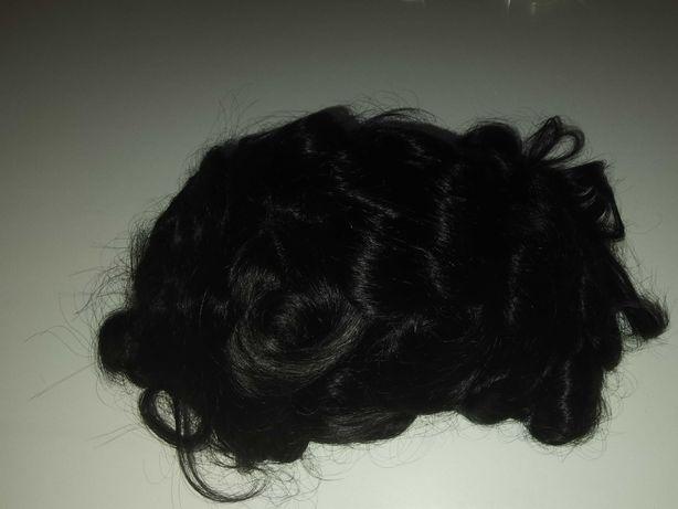 System włosów, męska peruka, tupet, włosy naturalne czarne