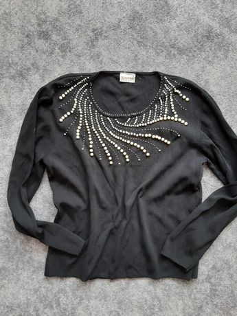 Elegancka Bluzka sweter czarny ozdobne koraliki perły L XL