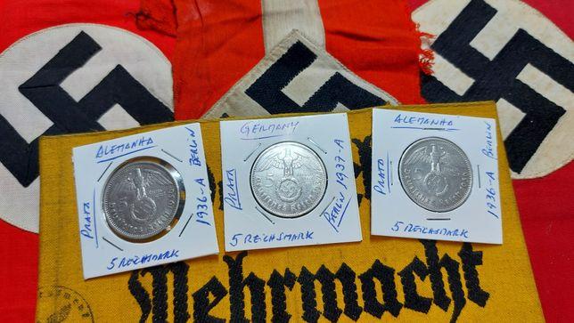 5 reichsmark PRATA suástica Alemanha nazi ORIGINAIS
