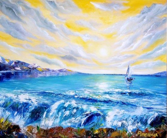Картина маслом Море Морской пейзаж Картина в интерьер