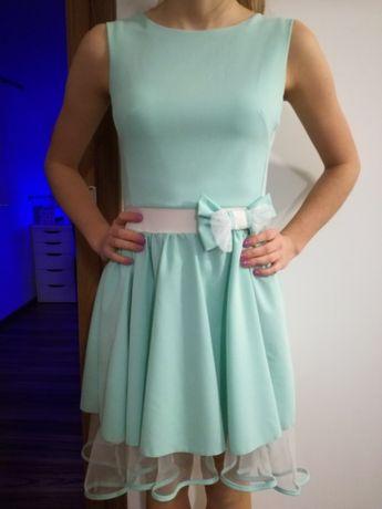 Śliczna miętowa sukienka rozmiar 36