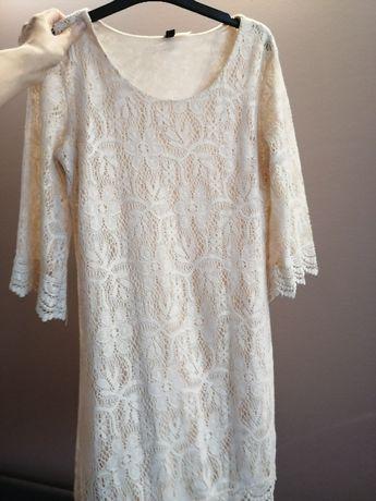 H&M koronkowa sukienka MINI 36 S kremowa ECRU nude