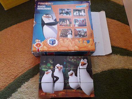 klocki obrazkowe Pingwiny z Madagaskaru 12 klocków 6 obrazków