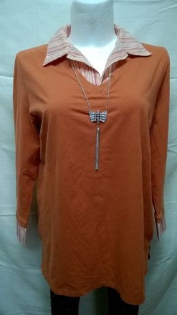 Bluzka bawełniana z doszytym kołnierzykiem, 48-50