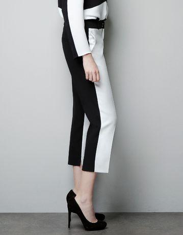 Spodnie damskie, materiałowe, eleganckie Zara czarno-białe 34 xs