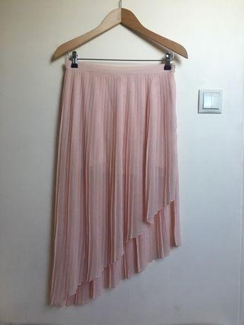 Spódnica pudrowy róż plisowana asymetryczna Zara M