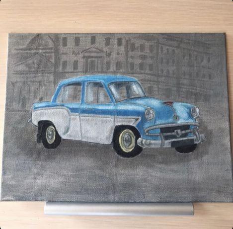 Картина маслом Москвич 407 ретро холст масло