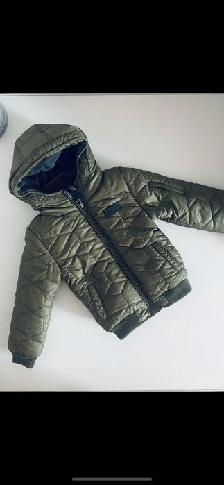 Теплая зимняя куртка next на мальчика на флисе хаки h&m zara с каюшоно Киев - изображение 1