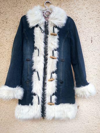 Парка, пальто джинс с мехом
