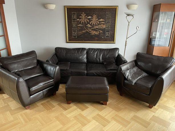 Wypoczynek skórzany + fotel + puf