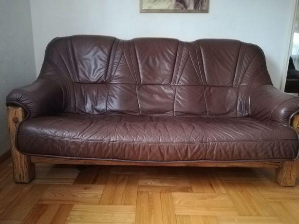 Sofa 3-osobowa skóra brąz