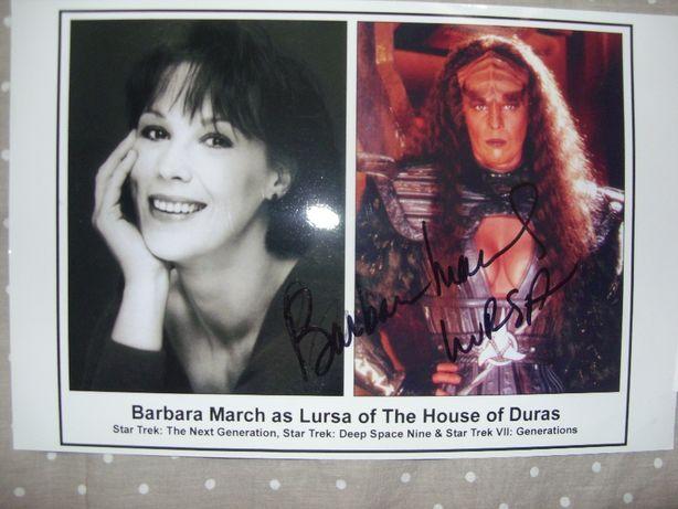 foto autografada de atriz de Star Trek