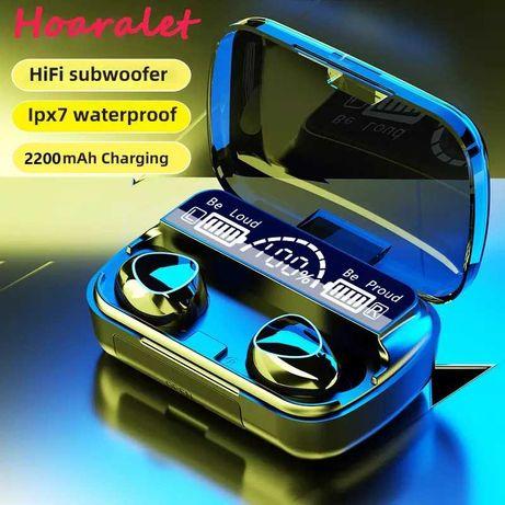Phones/Auriculares Bluetooth 5.1 e Powerbank com Caixa Carregamento