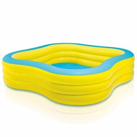 Семейный детский квадратный надувной бассейн басейн INTEX 229х56 см