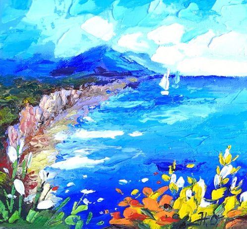 Морской пейзаж. Картина маслом. Обьемные слои. Оригинал от художника