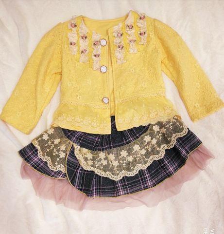 Модный детский костюм для девочки, нарядный, яркий, пиджак и юбка, нед