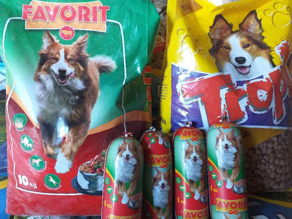 Karma dla psów FAVORIT 10kg ,1kg kiełbasa baton Bodzanów - image 1