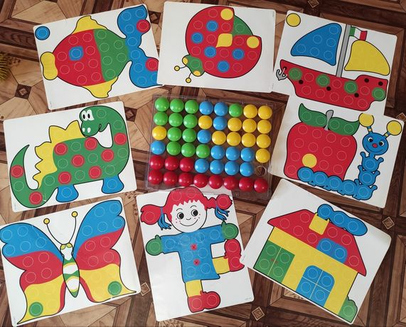 Мозаика Quercetti 2+ Большие фишки. 48 шт. Игровое поле. 16 шаблонов