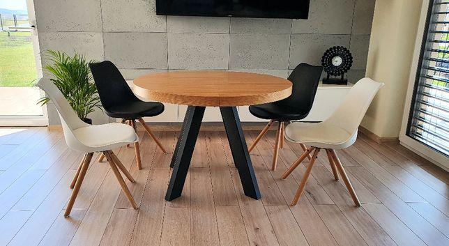 Nowoczesny stół dębowy okrągły rozkładany Loft 2