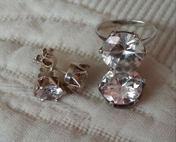 Srebrny komplet z dużą cyrkonią kolczyki pierścionek zawieszka srebro